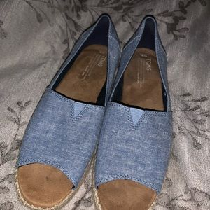 Tom's Chambray peep toe espadrilles